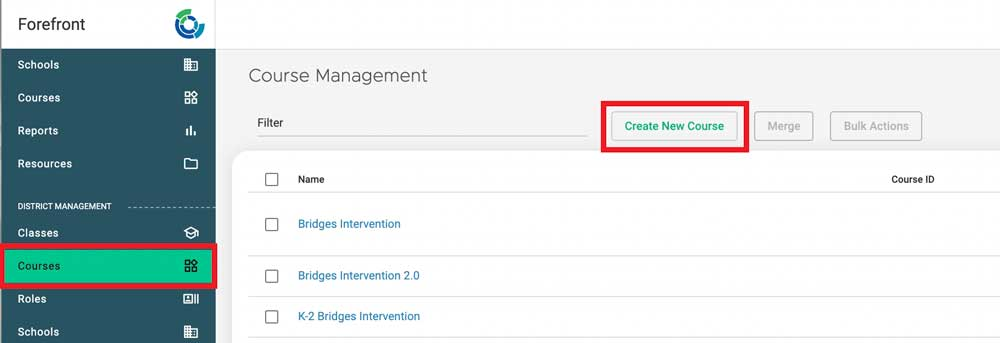 click courses and create