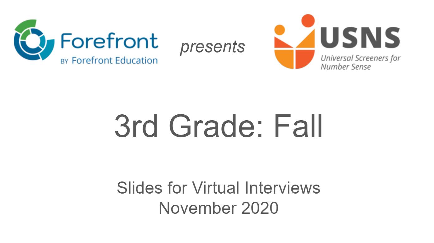 third grade fall screener virtual slides