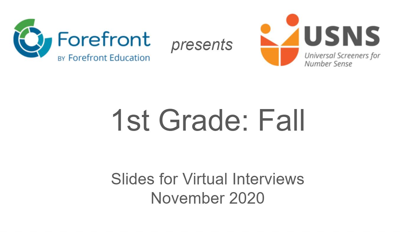 first grade fall screener virtual slides