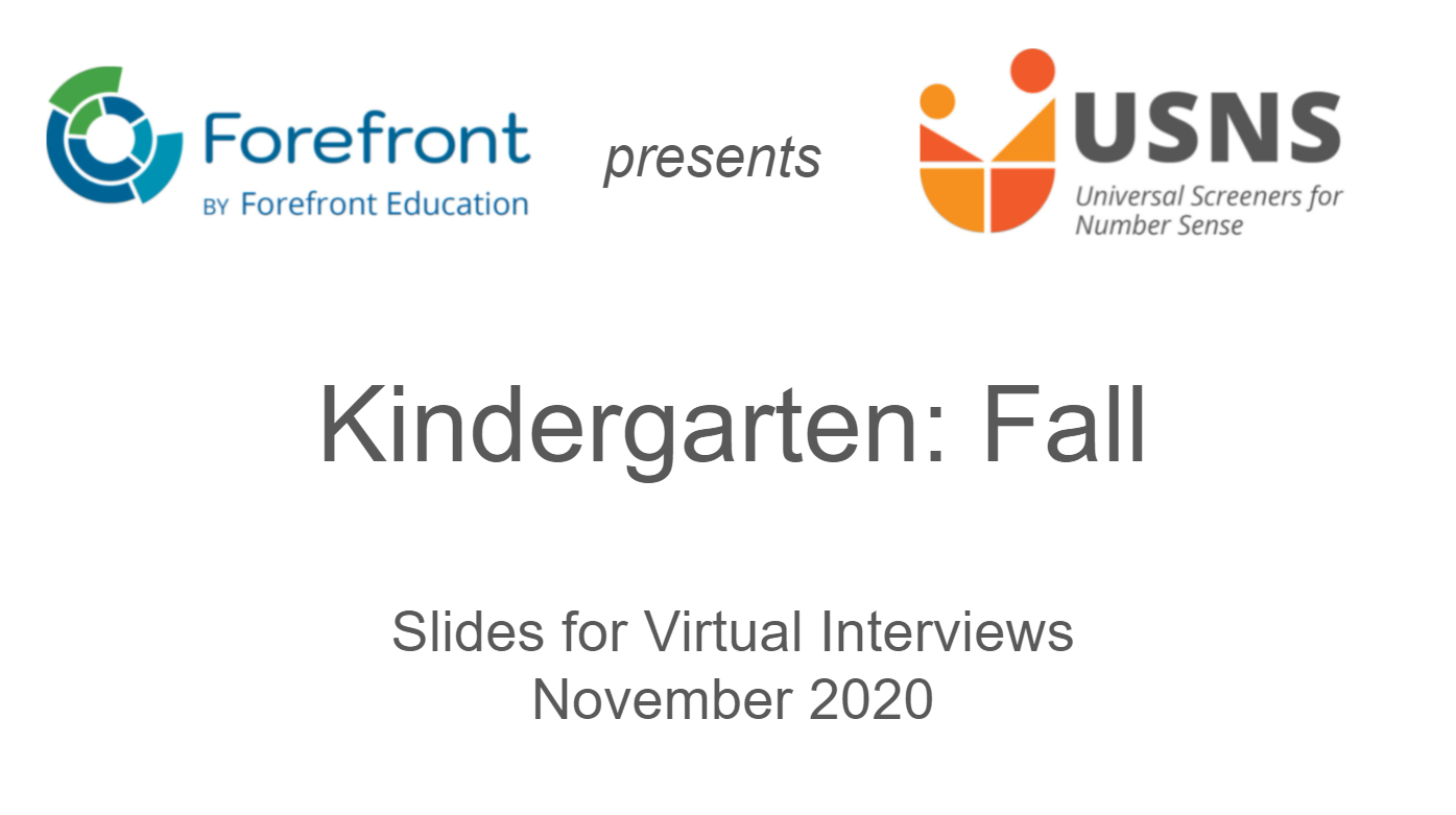 kindergarten fall screener virtual slides