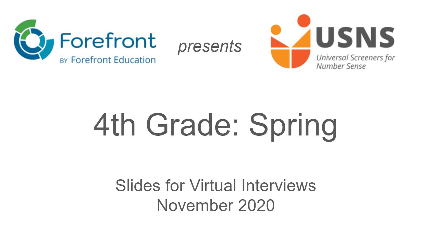 fourth grade spring screener virtual slides
